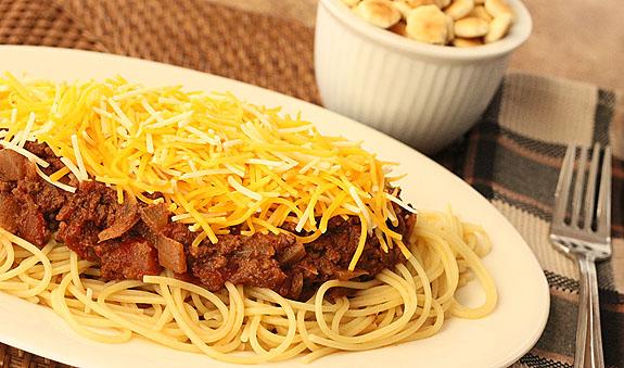 Cincinnati Chili with Spaghetti and Cheddar Cheese