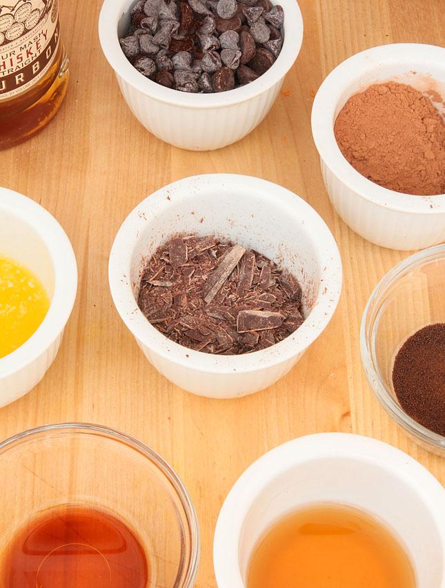 Collage of Whiskey Brownies Ingredients
