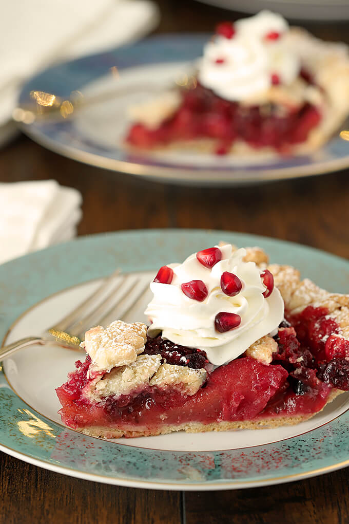 Cranberry Apple Pie with Grand Marnier Whipped Cream and Garnished wth Pomegranate Arils