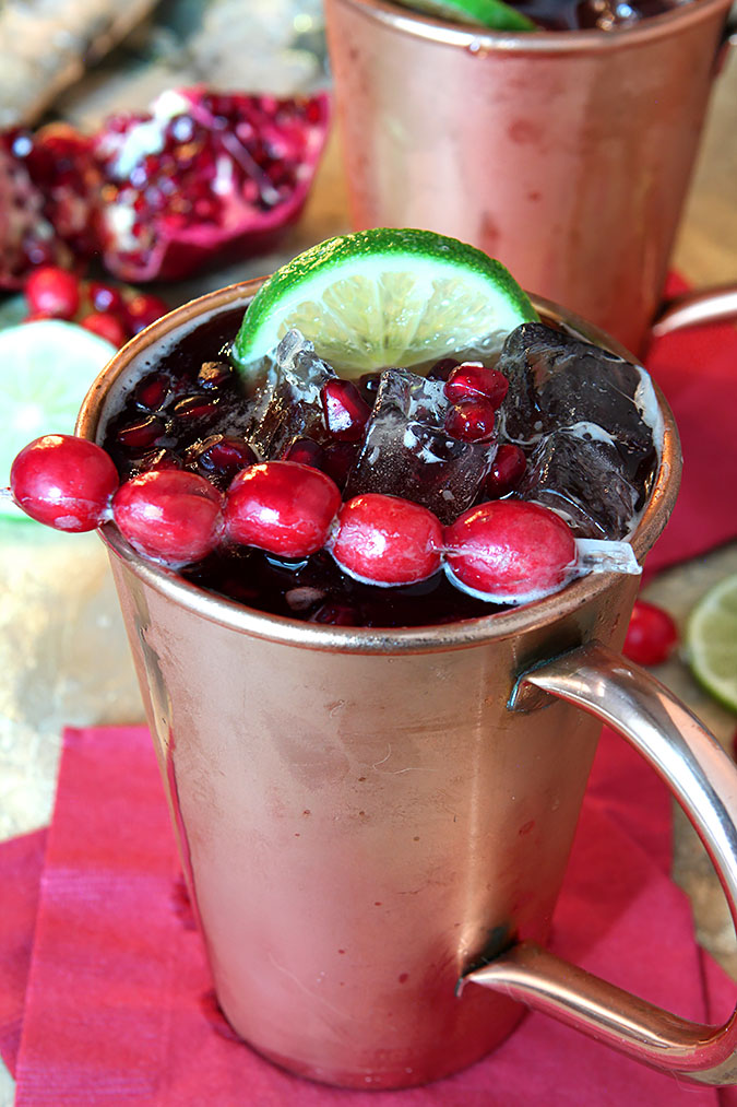 The perfect seasonal beverage, this Cranberry Pomegranate Moscow Mule Cocktail