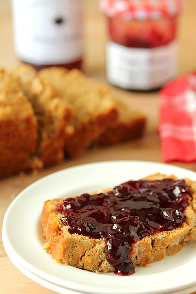 Honey Maple and Dark Beer Bread Served with Jam on a Plate