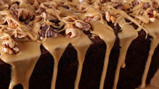 Date Coffee Cake with Walnuts and Espresso Glaze