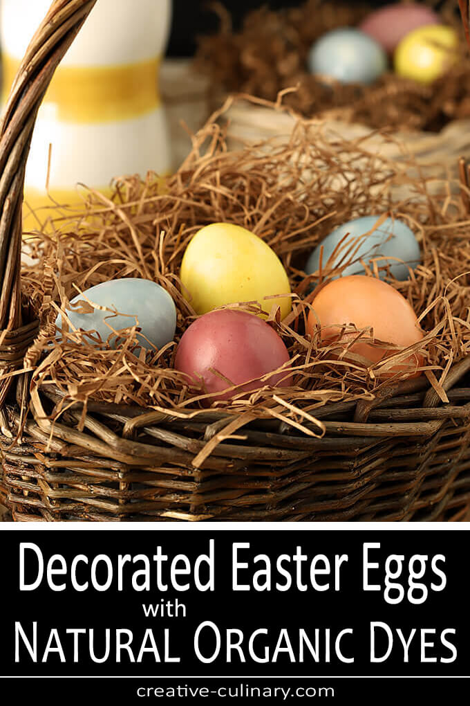 Decorated Easter Eggs with Natural Organic Dyes in a Brown Wicker Easter Basket PIN