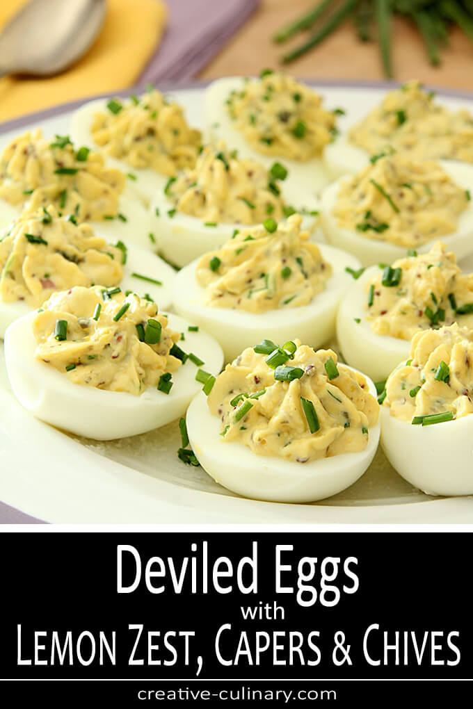 If you like deviled eggs, you'll love these Deviled Eggs with Lemon Zest, Capers and Chives. So flavorful and pretty to boot!