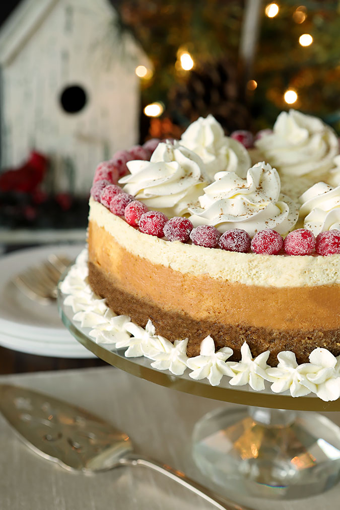 Eggnog Cheesecake with Bourbon & Nutmeg on a Gingersnap Crust
