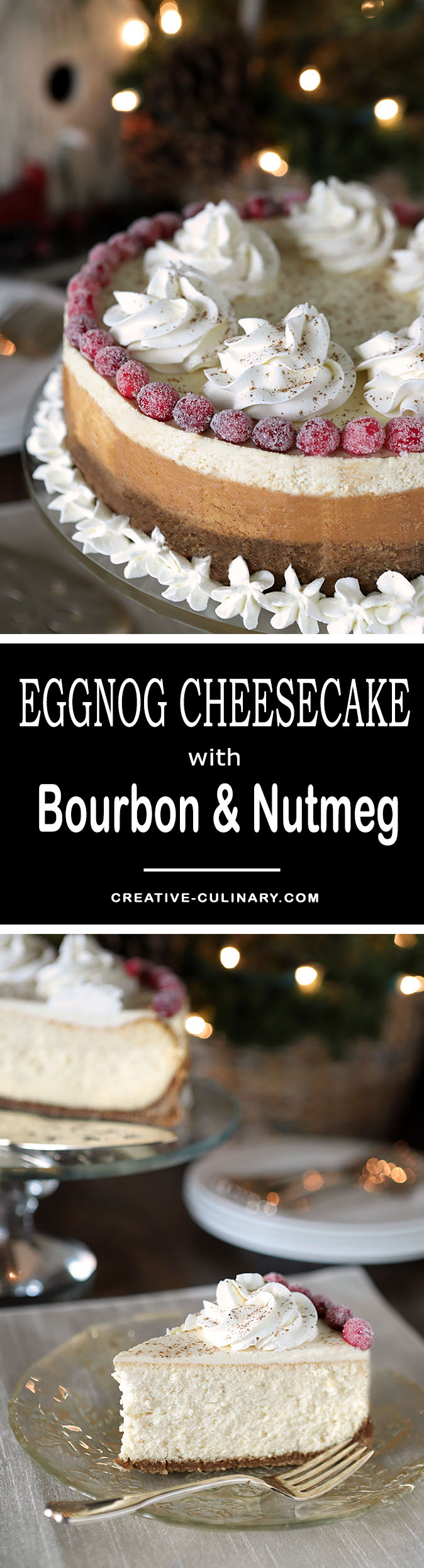 Make this Eggnog Cheesecake with Bourbon & Nutmeg on a Gingersnap Crust and both family and friends will love you forever!