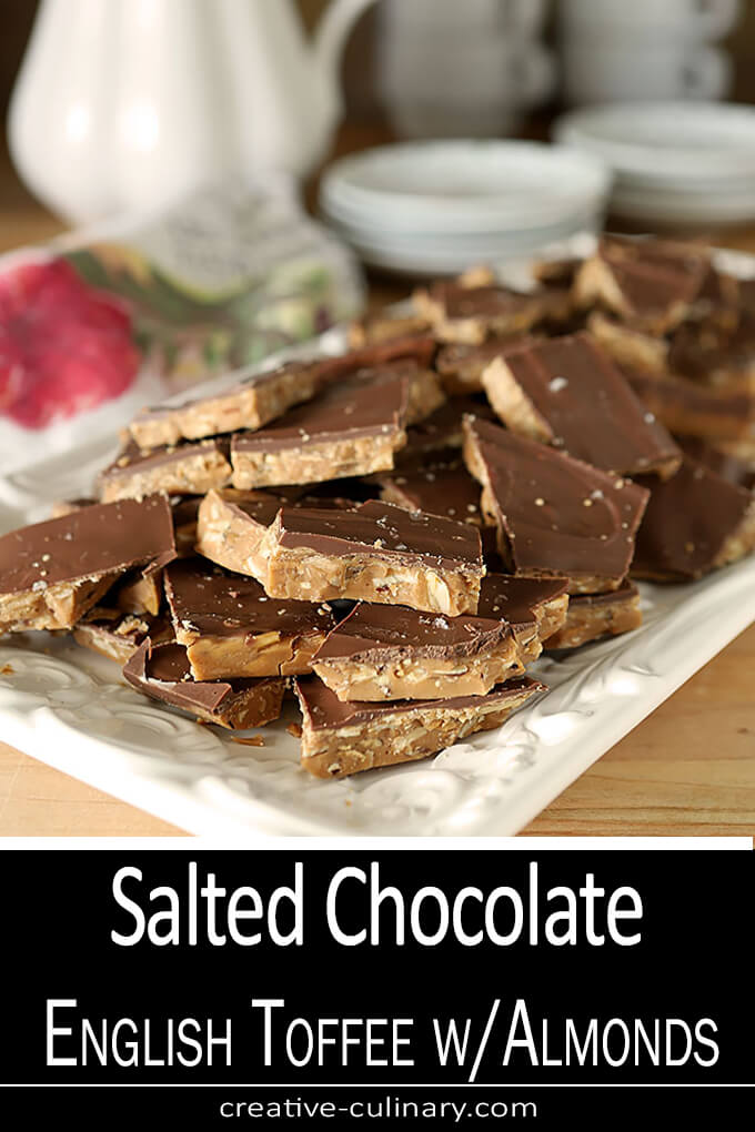 Salted Chocolate English Toffee with Toasted Almonds