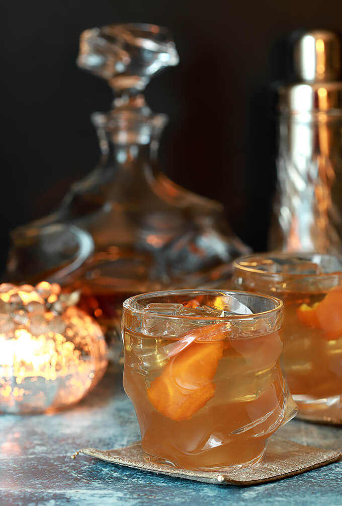 Bourbon and Fig Jam Cocktail with Orange Liqueur Served in a Lowball Glass