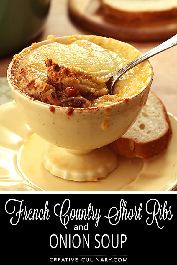 French Country Short Ribs with Onion Soup in a Yellow Soup Crock