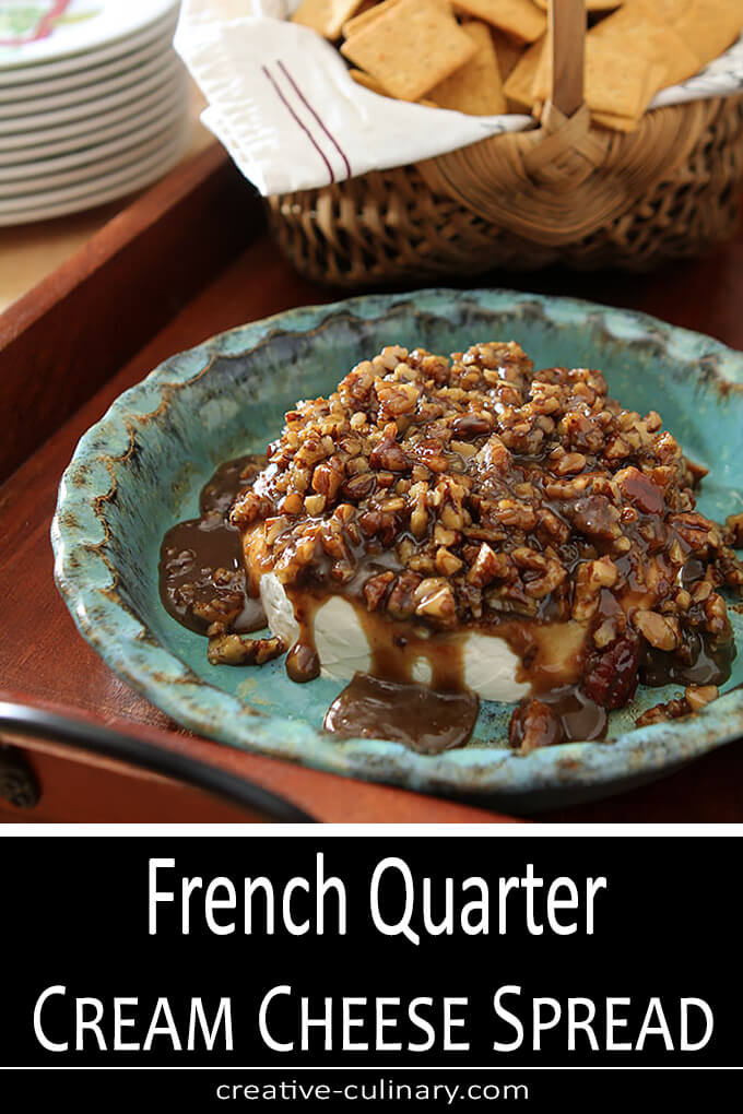 French Quarter Cream Cheese Spread Served in A Turquoise Pottery Bowl