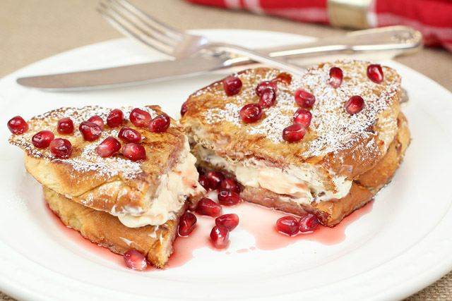 Cream Cheese Stuffed French Toast with Pomegranate