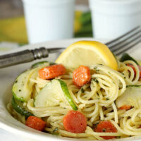 Garlic Pesto Pasta with Carrots & Zucchini