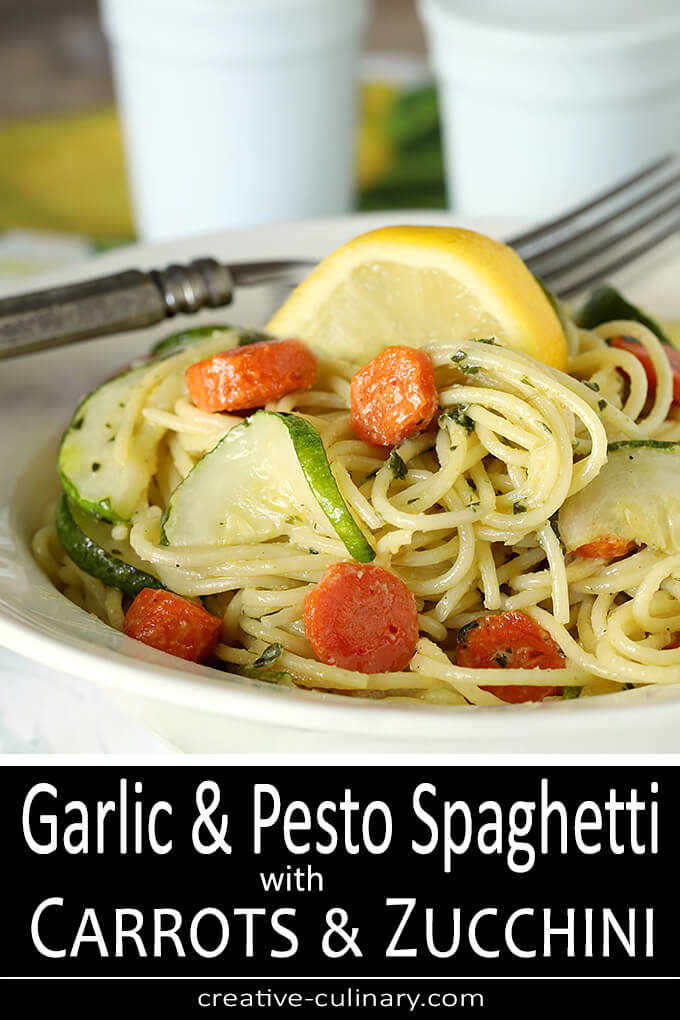 Garlic Pesto Pasta with Carrots and Zucchini PIN