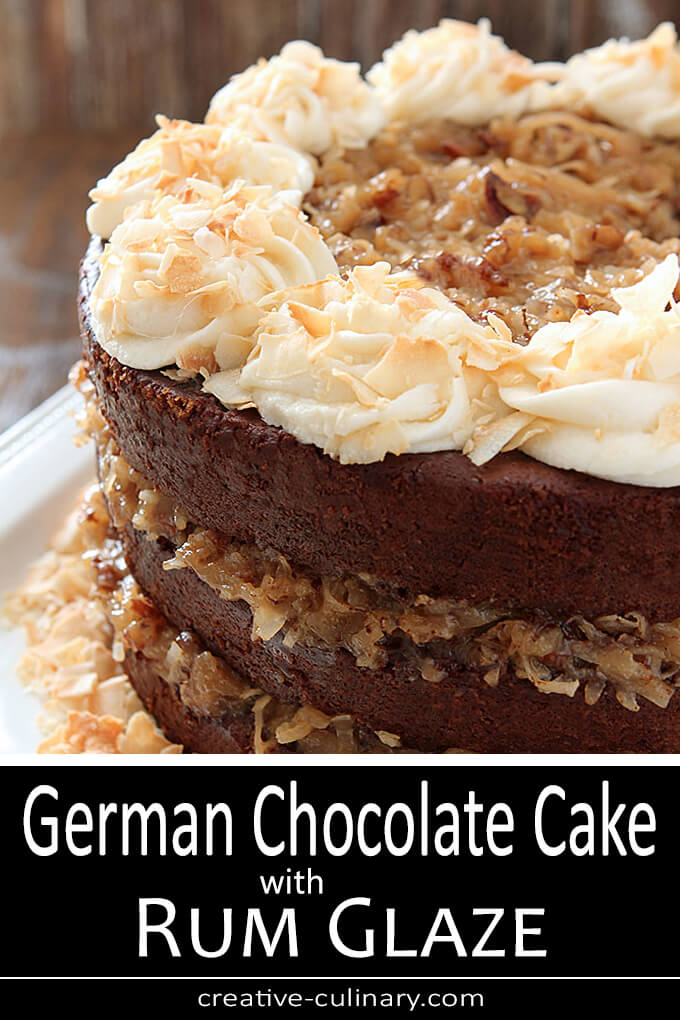 German Chocolate Cake with Buttercream Frosting and Rum Glaze PIN