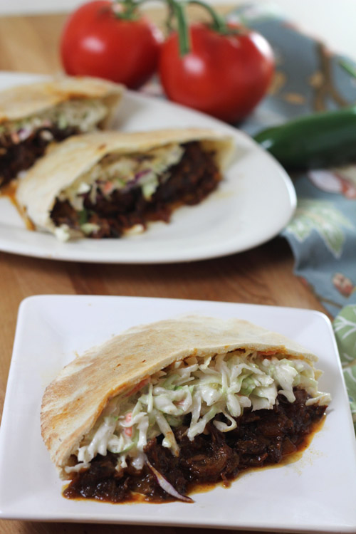 Barbecued Goat Meat with Cole Slaw in Pita Bread