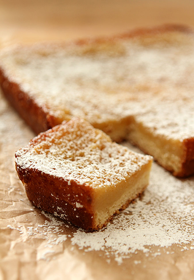 St. Louis Gooey Butter Cake with one slice cut out.