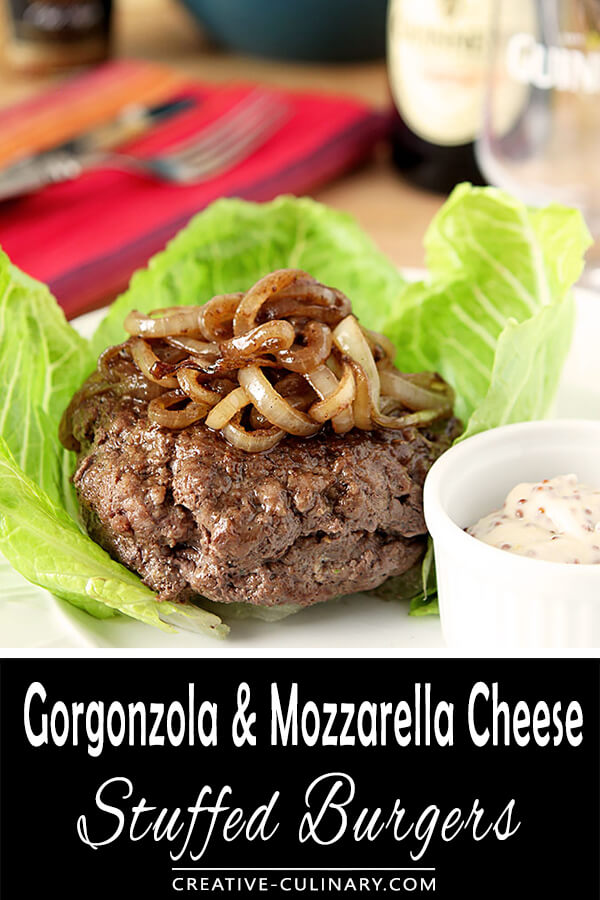 Gorgonzola and Mozzarella Cheese Stuffed Burgers in Lettuce Cups