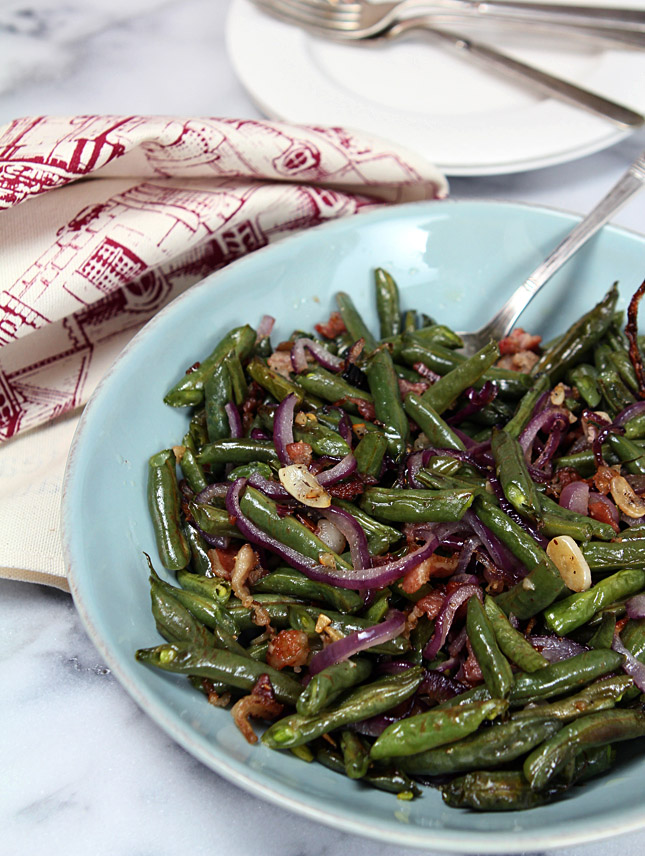 Roasted Green Beans with Pancetta, Red Onions and Garlic