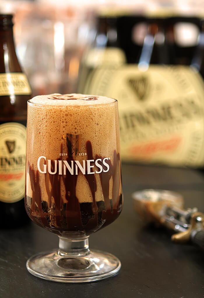Guinness Float with Irish Cream Liqueur on a table