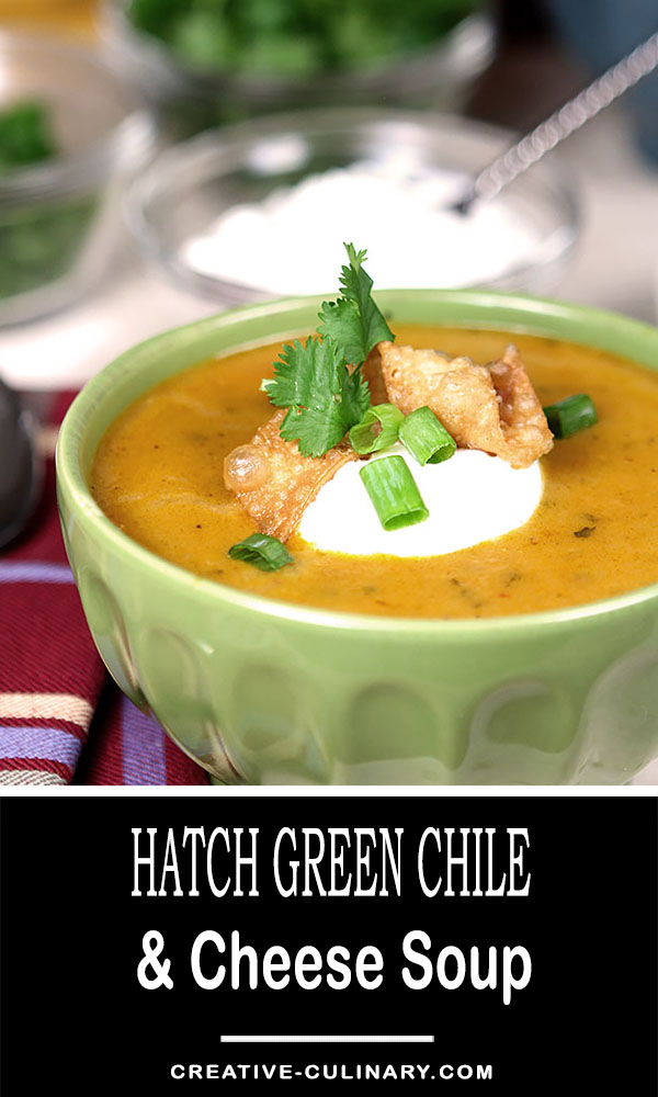 Hatch Green Chile and Cheese Soup is warm and spicy and perfect for the colder months to come. Topped with sour cream for a cool dollop; it's perfect.