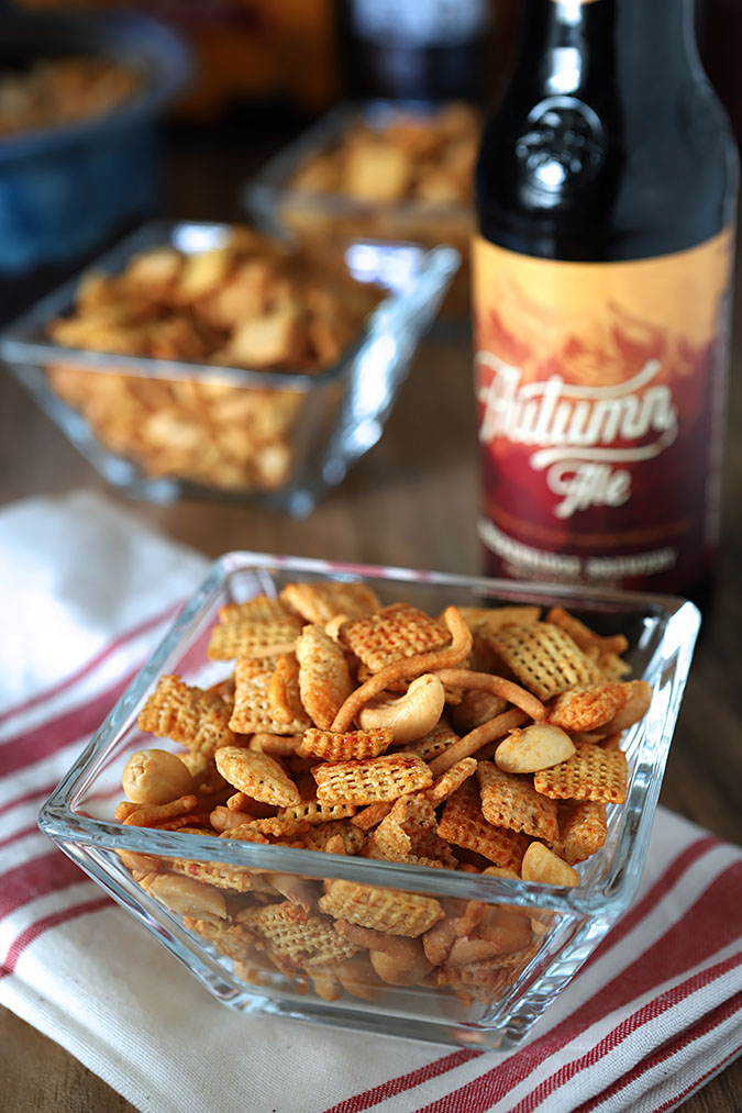 Honey Sriracha Chex Mix with Peanuts and Cashews