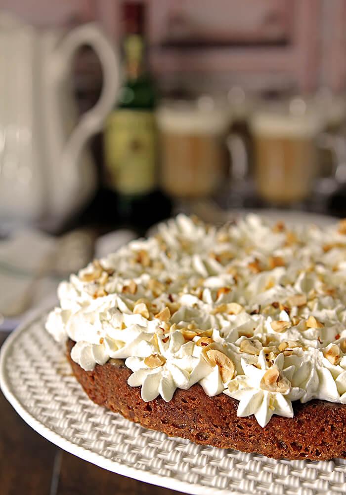 'Irish Coffee' Cake with Irish Whiskey on a Tiffany Cake Platter