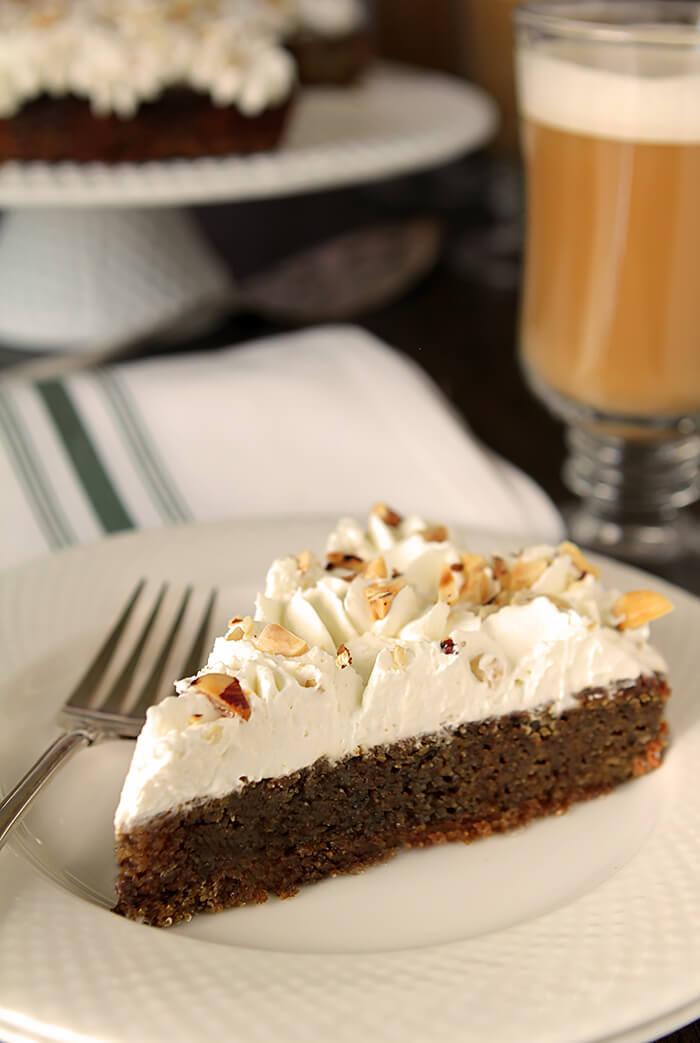 Slice of 'Irish Coffee' Cake with Irish Whiskey