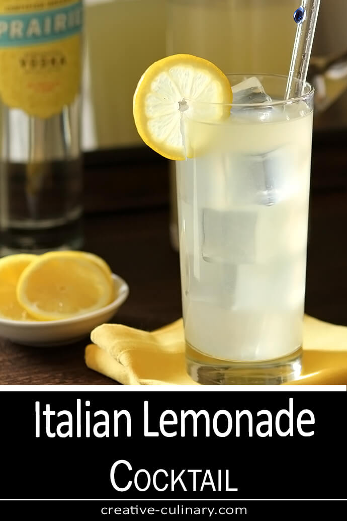 Italian Lemonade Cocktail Served in a Collins Glass and Garnished with Lemon Wheel
