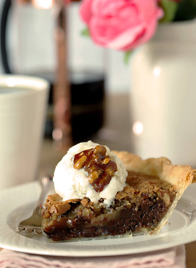 Kentucky Derby Pie with Walnuts and Bourbon Single Serving on a Plate