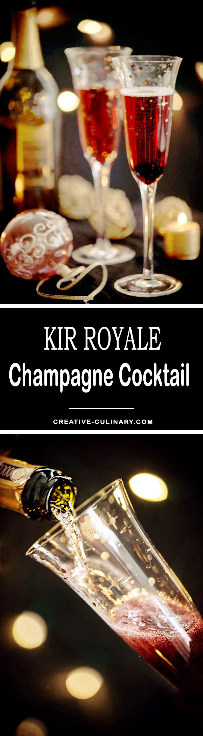 Kir Royale Cocktail - Simple but beautiful. It's made with Crème de Cassis and bubbly...that's all you need!