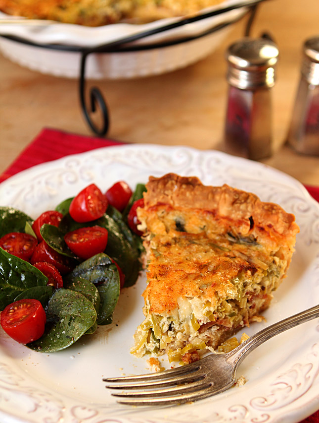 Leek and Bacon Quiche | Creative-Culinary.com