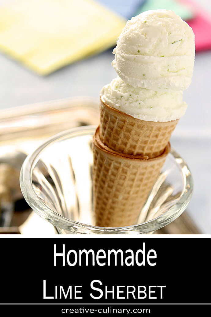 Homemade Lime Sherbet Served in a Cone Displayed in a Sundae Glass