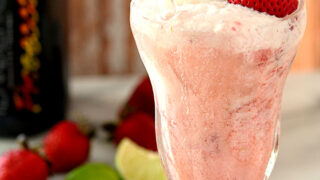 Lime Sherbet Float with Strawberries and Prosecco