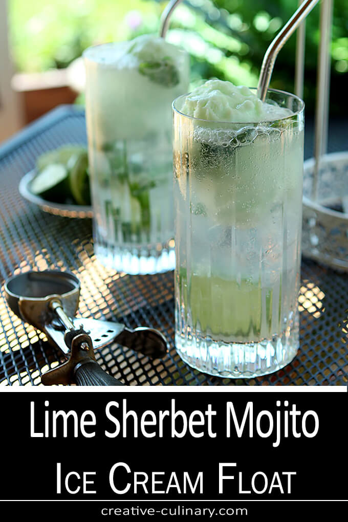 Lime Sherbet Mojito Float Served in a Tall Cocktail Glass with a Straw.