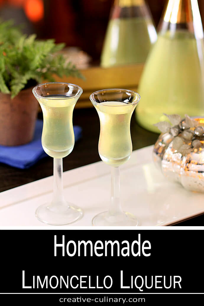 Homemade Limoncello Liqueur Served in Small Liqueur Glasses