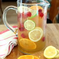 Vodka, Limoncello and Prosecco Sangria with Raspberries