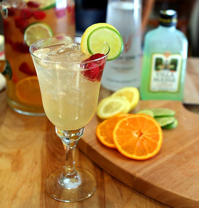 Vodka and Limoncello Sangria with Raspberries