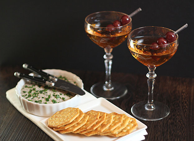 Classic Manhattan and Mushroom Pate
