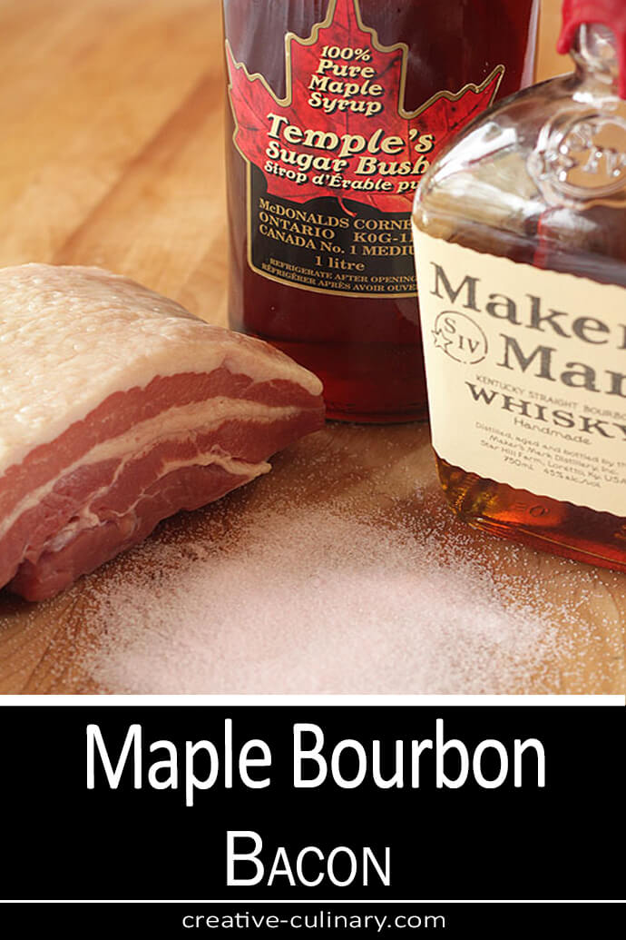 Maple Bourbon Bacon Ingredients. Pink Salt, pork belly, bourbon and Canadian Maple Syrup
