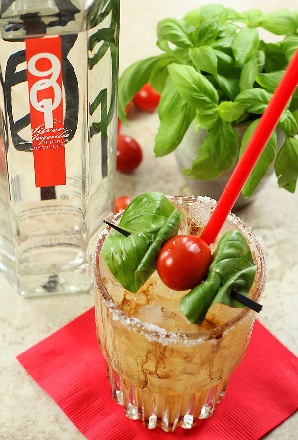 Caprese Margarita with 901 Tequila and garnished with Basil and Tomato