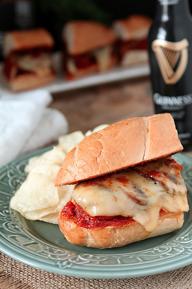 Meatball Sub Sandwiches with Mushrooms and Cheese Served on a Submarine Bun