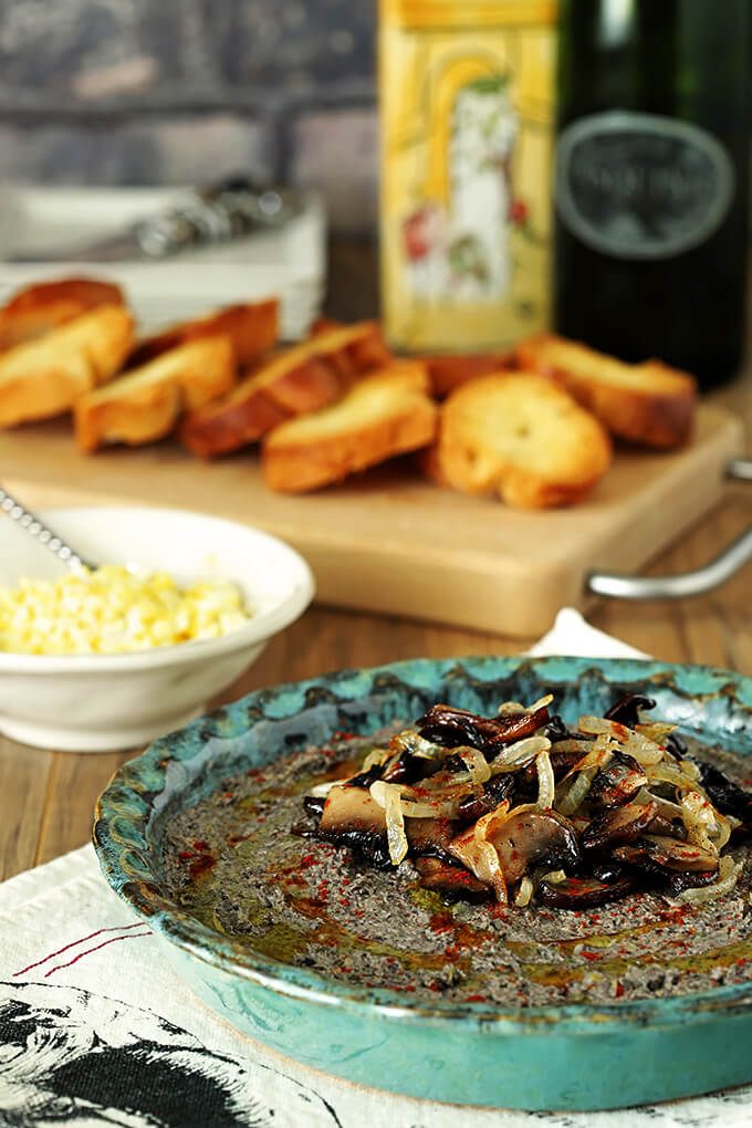 Creamy Mushroom and Walnut Pate Appetizer in a Turquoise Serving Dish