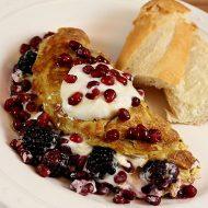 Omelet with Chobani Honey Yogurt, Pomegranate Arils and Blackberries