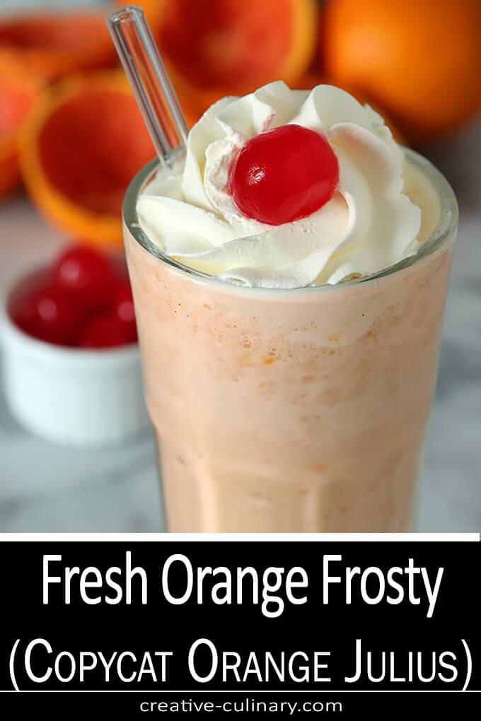 Fresh Orange Frosty - Copycat Orange Julius in a Soda Fountain Tall Glass