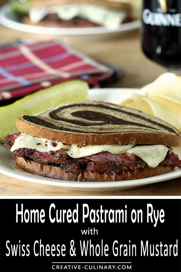 Homemade Pastrami with Swiss Cheese and Mustard