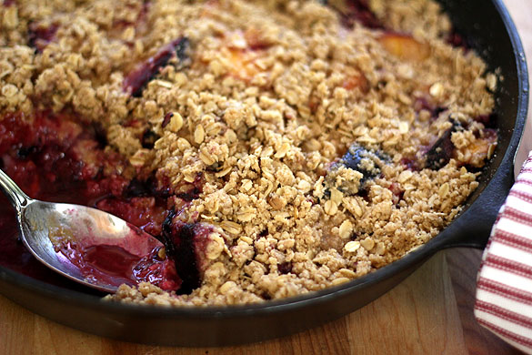 Spiked Peach and Plum Crisp. Or Crumble...but I'm not a ...