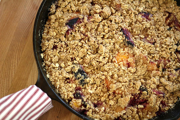 Spiked Peach and Plum Crisp. Or Crumble...but I'm not a Cobbler ...
