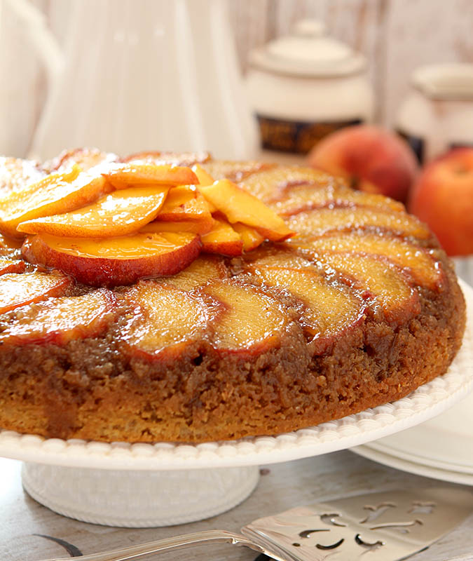 peach upside down cake fresh and bourbon cake creative culinary 6406
