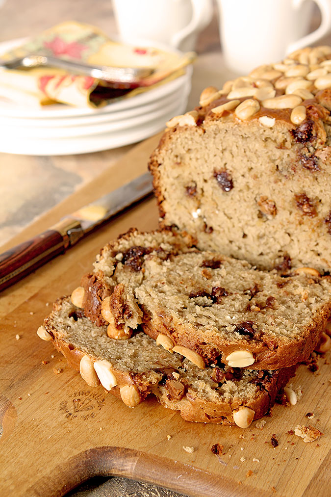 Slices of Banana Bread that includes peanut butter and milk chocolate chips.