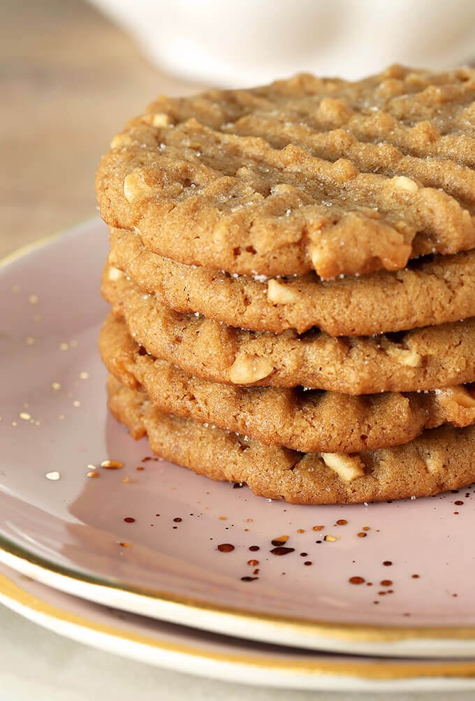 Flourless (Gluten Free) Peanut Butter Cookies Stacked on a Pink Plate